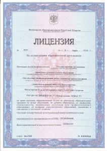 Лицензия цсдюшшор